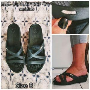 EUC, Crocs strappy Black sandals